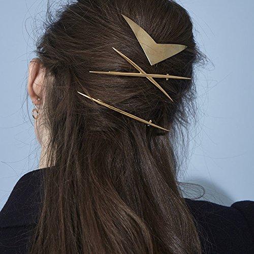 FXmimior Lot de 3 Barrettes à cheveux dorées, de style vintage, bohème, barrettes longues et larges, accessoires pour femmes, barrettes décoratives idéales pour soirées, bal de fin d'année, fête