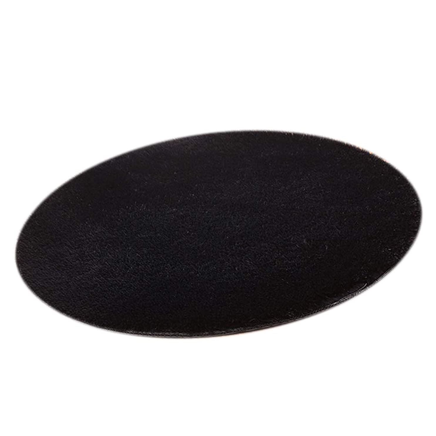 三番基本的な機密円形 カーペット ラグ マット 敷物 パッド 直径30cm ふわふわ ぬいぐるみ 多目的 全10色 - ブラック
