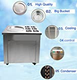 Zinnor Commercial Fried Ice Cream Machine, 740W 1 Pan 6 Pot Buckets Boxes Ice Crean Roll Making Machine with 3 Buttons,One Scrapper 110V