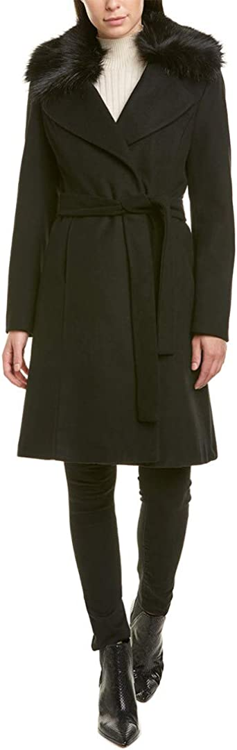 T Tahari Fiona Wool Wrap Coat with Removable Faux Fur Collar, Black