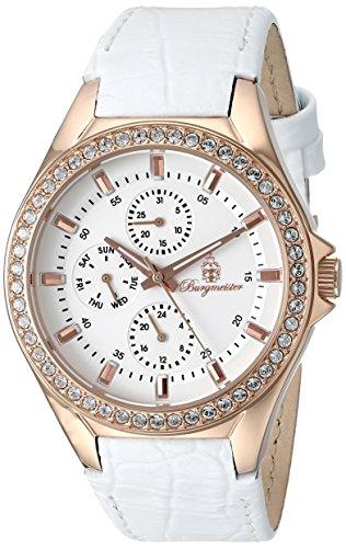 Burgmeister Armbanduhr für Damen mit Analog Anzeige, Quarz-Uhr und Lederarmband - Wasserdichte Damenuhr mit zeitlosem, schickem Design - klassische, elegante Uhr für Frauen - BM529-316 Tampa