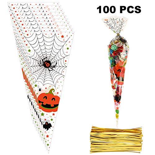 Bolsas de Cono de Halloween de 100 Piezas Bolsas de Celofán Transparente de Halloween Bolsas de Celofán de Halloween con Lazos Retorcidos de 150 Piezas, 15 x 6,3 Pulgadas (Conjunto de Estilo 4)