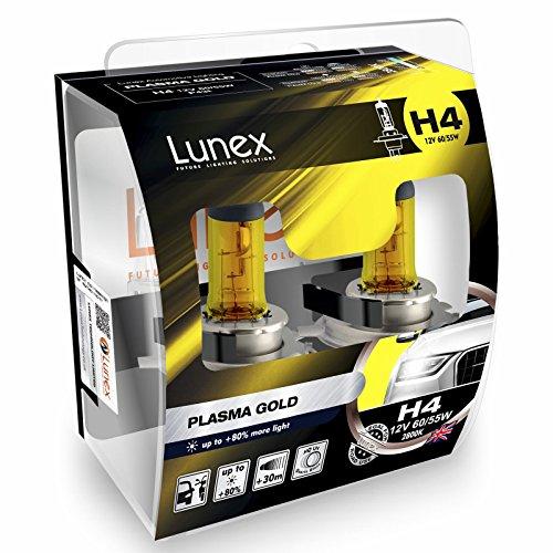 LUNEX H4 PLASMA GOLD 472 Scheinwerfer Halogenbirnen Lampen Gelb 12V 60/55W P43t 2800K duobox (2 Stücke)