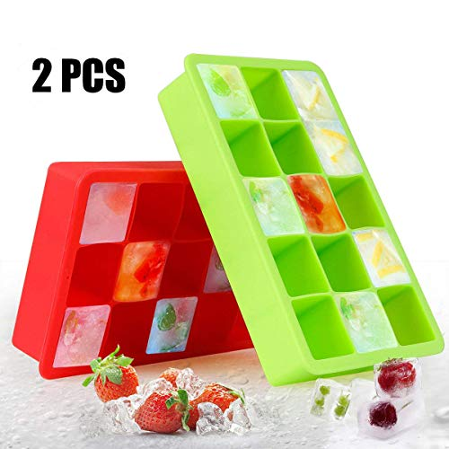 Square Ice Ball Mold, Ice Cube Tray with Lid for Whiskey, Silicone Ice Mold for Cocktail, Bourbon and Scotch by AODOOR (Square, Red+Green)