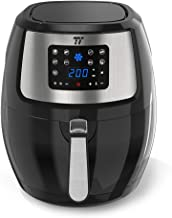 TaoTronics TT-EE005 Fryer 9 Cooking Presets, LED Touch Screen Kitchen Cooker, Air Oven With Detachable Basket & Cookbook, Nonstick Coatings, Dishwasher Safe 7.4 QT Black