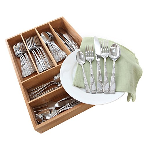 Oneida Tuscany 65-Pc Set with Bamboo Storage Caddy (Service for 12)
