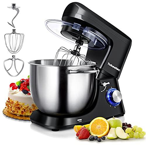 TOBEELEC Küchenmaschine Knetmaschine 7L, 1500W Reduzierte Geräusche Knetmaschine mit Rührbesen, Knethaken, Schlagbesen, Spritzschutz, 6+P Geschwindigkeit mit Edelstahlschüssel Teigmaschin (Schwarz)