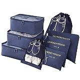 Vicloon Sistema di Cubo di Viaggio, Cubo Borse di stoccaggio, 8 pezzi Abbigliamento Intimo Abbigliamento Calzature Organizzatori Sacchi di Stoccaggio Set (blu scuro)