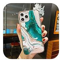 Liaog グラデーション大理石のフラッシュ電話ケースは、iPhone 12 11 Pro Max XR XS Max X 7 8 Plus 11Pro SE2020バンパー耐衝撃ソフトバックカバーに適しています-T2-For iPhone XR