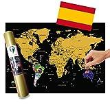Global Walkabout ESPAÑOL - Mapa De Raspaditos Con Fondo De Banderas - Cartel De Lujo Del Mapa Mundial - Países Y Hechos - Regalo De Viaje - RECORRIDO MUNDIAL