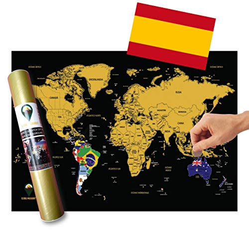 Global Walkabout ESPAOL - Mapa De Raspaditos Con Fondo De Banderas - Cartel De Lujo Del Mapa Mundial...