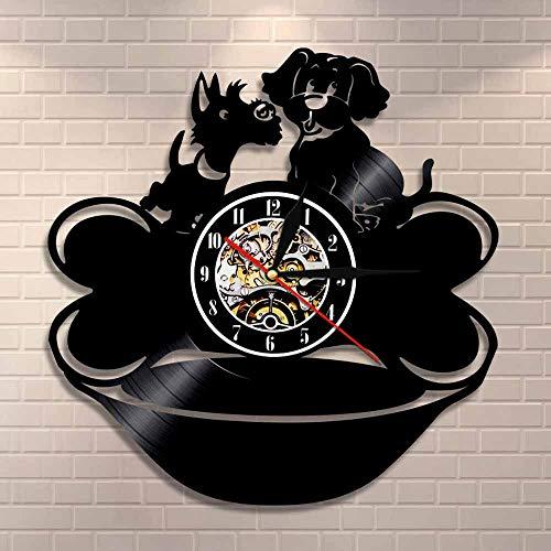 DJDLNK Negro con Hueso Reloj De Pared Cachorros Reloj De Pared Estilo Perrito Decoración De Pared Vintage Perro Dueños De Mascotas Idea De Regalo
