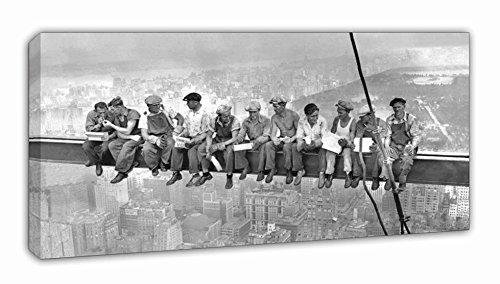 BaikalGallery Cuadro Lienzo OBREROS EN Nueva York 1932. Tamaño 50x100cm (P1054) Impreso en Canvas de algodón Tensado sobre Bastidor de 2 cm de Grosor. Acabado Mate