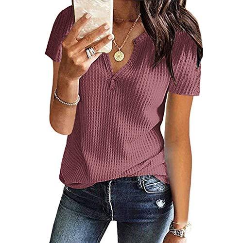 WNEEDU Womens Waffle Knit Tunic Tops V-Neck Short Sleeve Blouse shirts Mauve
