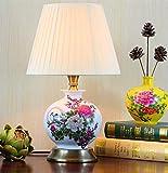 Lámpara de mesa vintage de cerámica con pantalla de tela, creativa, sencilla, para dormitorio, mesita de noche, clásica, para salón, decoración, lámpara de escritorio, E27, máx. 40 W.