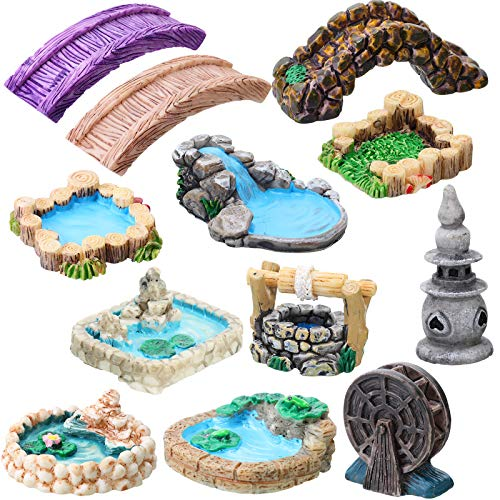 12 Pieces Fairy Garden Accessories Miniature Garden Bridge Figurines Mini Lighthouse Water Well...