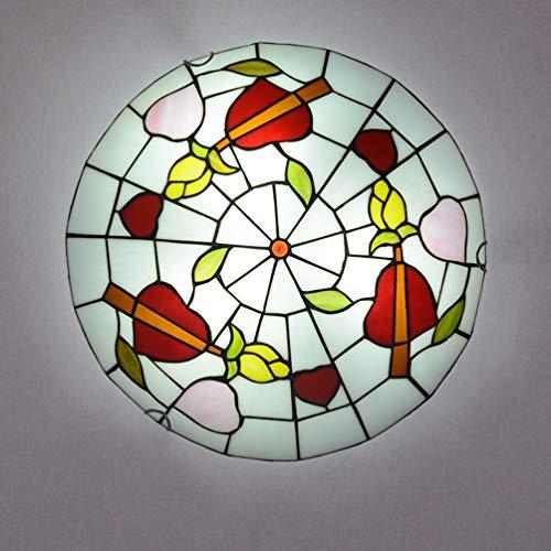 ACHNC Tiffany Plafonnier Chambre, Lampe Plafond Enfant Retro, Lampe Plafonnier Salon Vintage, Ronde Tiffany Lampe Décorer Luminaire Plafonnie pour Cuisine Restaurant Balcon,E27,50CM