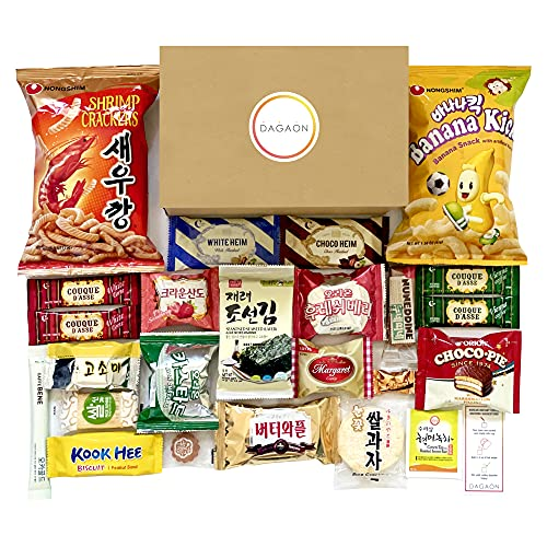Dagaon Favorite Korean Snack Box 24 Count - Appetizing Gift and Care Package for any occasions and everyone. Variety of Korean Treats Including Top Picked Chips, Biscuits, Cookies, Pies, Candies.