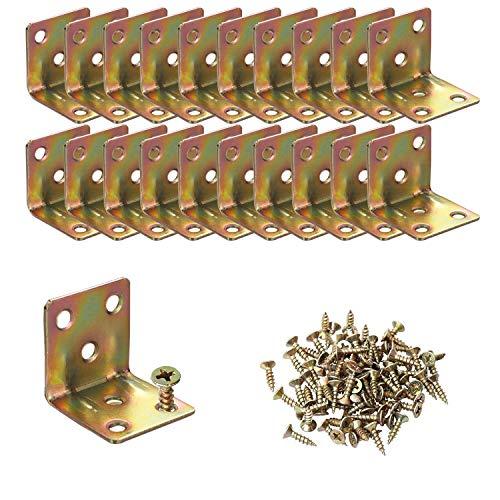 20PCS Staffe angolari per impieghi gravosi Staffe a forma di L 30x30x30mm, staffa a L ad angolo retto con giunto a 90 gradi per mobili Scaffali in legno, la confezione include viti