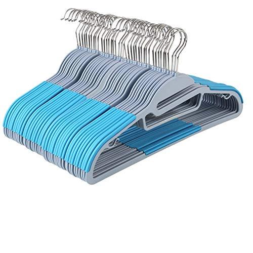 Homfa 40er Kleiderbügel mit Gummierung antirutsch Jackenbügel Wäschebügel Anzugsbügel platzsparend dünn 42cm Himmelblau belastbar bis 10KG