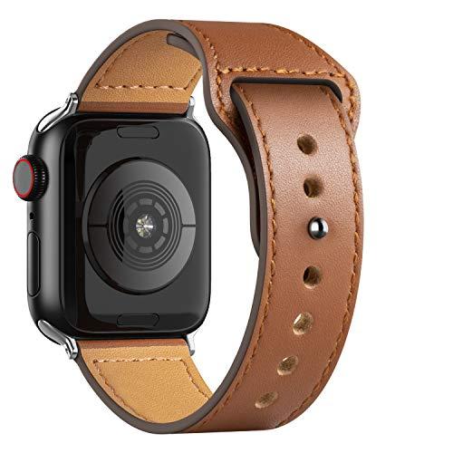Adepoy für Apple Watch Armband Leder 38mm 40mm 42mm 44mm, Echt Lederarmband Kompatible mit iWatch Series 5/4/3/2/1(Druckverschluss Braun, 42mm/44mm)