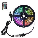 FOROUREYES RGB Led Strip 16.4ft ,5V USB Colorful 30LED S/M SMD 5050 Flexible Smart APP for TV Backlight Room Decor,with 24 Keys Remote Controller