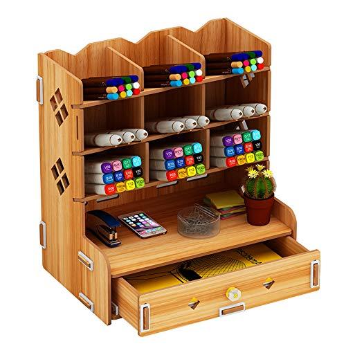 木製 卓上収納ケース 筆立て おしゃれでかわいい デスク整理整頓 収納棚 収納 小物入れ 筆差し 大容量 収納棚 文具 収納 引き出し付き (ブラウン)