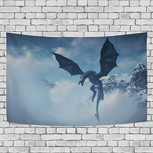 JXZIARON Tapiz Art Paño para Colgar en la Pared Impresión HD Cocina Dormitorio Sala de Estar Decoración,Fondo Exclusivo de dragón Volador Gigante para 60x40 Pulgadas