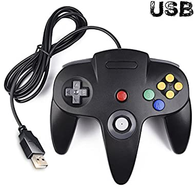 Classic N64 Controller, iNNEXT N64 Wired USB PC Game pad Joystick, N64 Bit USB Wired Game stick Joy pad Controller for Windows PC MAC Linux Raspberry Pi 3 Genesis Higan (Black)