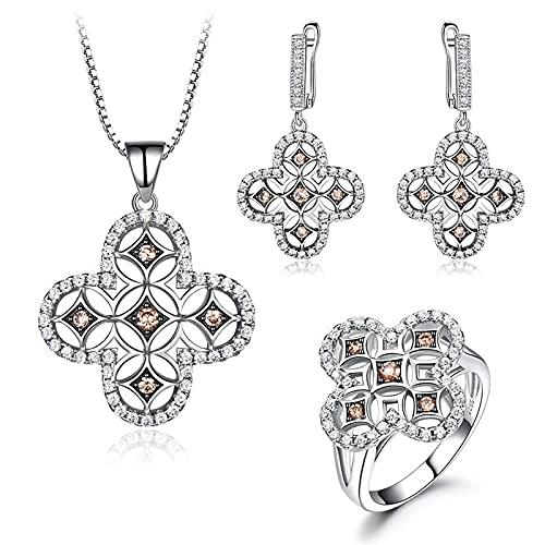 yuge Juego de joyas de plata de ley 925 para mujer, diseño de flor, gema pendiente, anillo de regalo