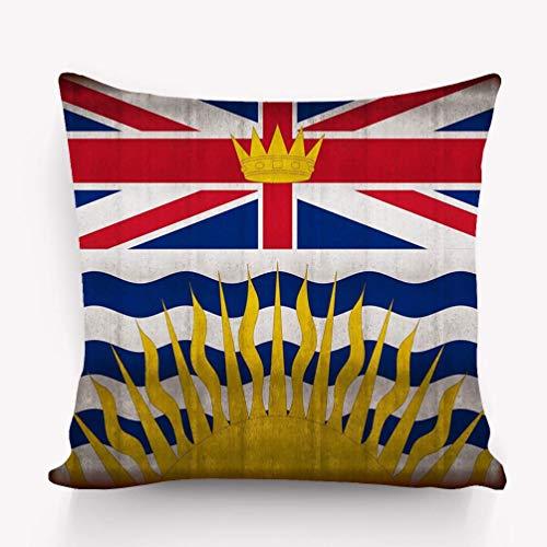 Rectángulo Sofá Hogar Decorativo Funda de Almohada Funda de cojín Algodón Poliéster Impresión de Dos Lados Bandera de Columbia Británica Rusty Columbia Británica Rusty