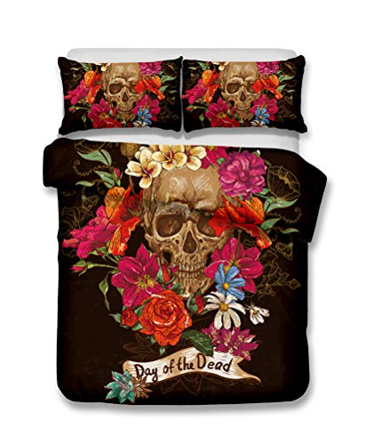 LanS Abstract human skeleton skull duvet cover bedding Set,duvet cover and pillowcase, 3 Piece Set bedding (duvet cover + 2 pillowcases) Single Double Duvet cover (B,Single-135x210cm)