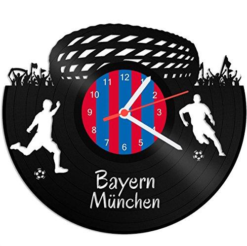 GRAVURZEILE Schallplattenuhr Bayern München - 100% Vereinsliebe - Upcycling Design Wanduhr aus Vinyl Made in Germany