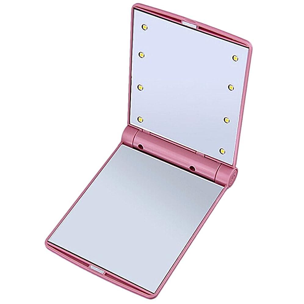 肉屋ジュニア服を着るB-PING 鏡 化粧鏡 女優ミラー 調光型二面鏡 拡大鏡付き 330度調節可能 コンパクトミラー スタンドミラー 折りたたみ式 二面鏡 LED ライト8個 無印タイプ 5色のオプション (ピンク)