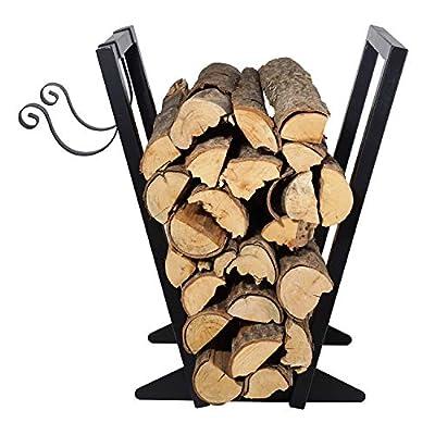 Firewood Holder?22-Inch/Black? Heavy Duty Firewood Rack with Kindling Holder, Indoor Outdoor Fireplace Storage Log Holder
