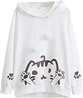 Mujer CamisetasLas Mujeres Camisa La Sudadera con Capucha Hairball de la impresión del Gato de la Manga Larga Ocasional del otoño de Las Mujeres