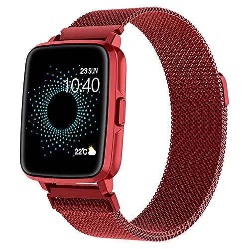 ALLWIN Reloj Inteligente, Rastreador Ejercicios con Oxígeno En Sangre, Llamada Bluetooth, Termómetro Temperatura Corporal, Presión Arterial, Monitor Frecuencia Cardíaca Reloj Fitness para,Rojo