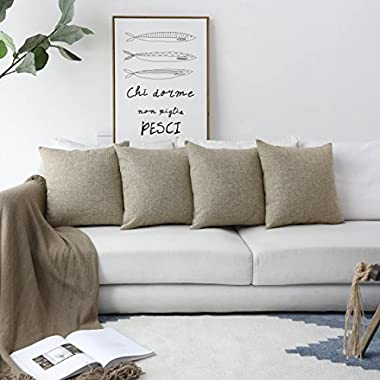 HOME BRILLIANT Decor Lined Linen Square Throw Cushion Pillowcase Covers for Sofa, 18 x18 , Natural Linen, Set of 4