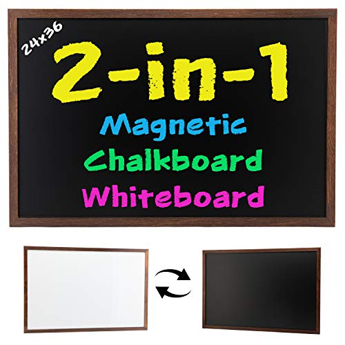 Magnetic Chalkboard/Whiteboard Combo, 24x36, Two-Sided, Wood Frame, Non-Porous