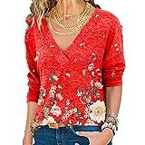 N\P Camiseta suelta casual con cuello en V y estampado floral para mujer