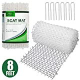 Tapix Cat Scat Mat Clear Anti-cat Network with Spikes Digging Stopper - Cat Deterrent Mat for Indoor and Outdoor 8 feet x 12 inches with 6 Staples