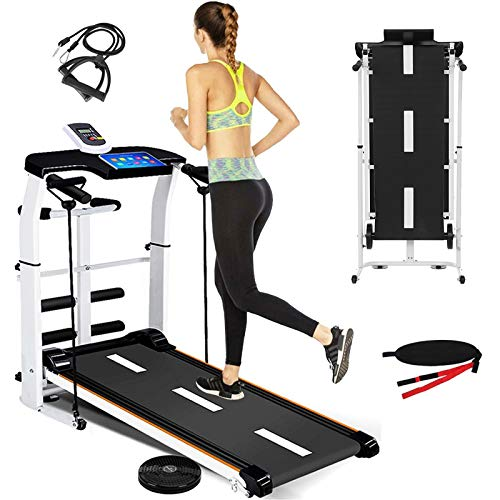 Yinguo 3in1 Folding Incline Treadmill, Portable Manual Treadmill Running Belt Machine Mechanical Jogging Walking Exercise Equipment with LED Display, Phone Holder for Home Gym Cardio Fitness Workout