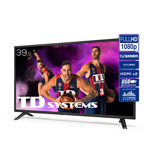 Televisor TD Systems K40DLJ12F - Televisores 39,5 Pulgadas Full HD 2X HDMI, USB, 1100 PCI Hz, Grabador Reproductor, DVB-T2/C/S2 Modo Hotel. Televisiones