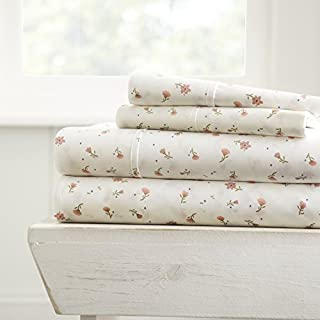 ienjoy Home 3 Piece Sheet Set Soft Floral Patterned, Twin, Pink