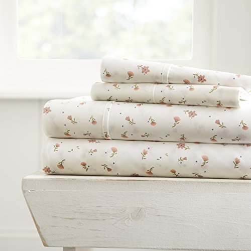 ienjoy Home 4 Piece Sheet Set Patterned, Queen, Soft Floral Pink
