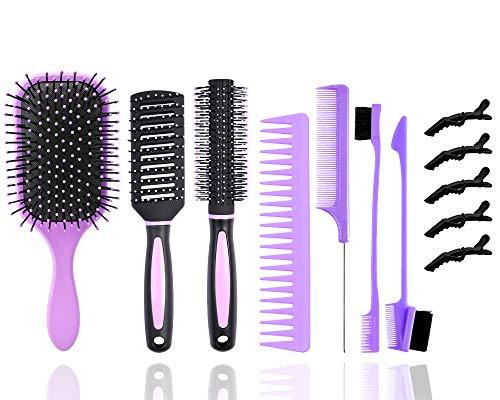 12teilige Haarbürsten für Frauen,entwirrende Paddelbürste mit Nylonbürstenzähnen/Rechteckkamm/Rundhaarbürste Set mit5Haarclips+2different Edge Brush Double Sided+zum Formen von Locken Nasses(Lila)