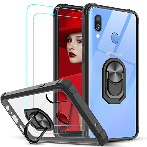 LeYi per Cover Samsung Galaxy A40 con Vetro Temperato [2 Pack],Trasparente Custodia Rigida Silicone con Anello Rinforzata Antiurto Bumper per Custodie Samsung Galaxy A40 Nero