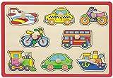 Joueco - Puzzle (8 piezas), diseño de vehículos, color rojo