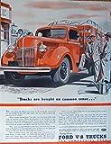 Ford V-8 Trucks, 40's Print ad. Full Page Color Illustration (common sense) Original Vintage 1940 The Saturday Evening Post Magazine Print Art
