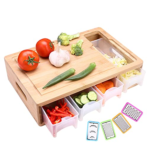 HIOHI Large Bamboo Cutting Board with trays/container /slicers /drawers and lids,Meal Prep Cutting Board,Chopping Board with Tray for Easy Food Prep and Cleanup